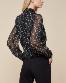 Juicy Couture Floating Floral Tie Front Blouse