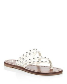 Tory Burch - Women's Patos Studded Leather Thong S