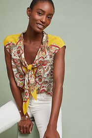 Anthropologie Scarf-Printed Silk Blouse