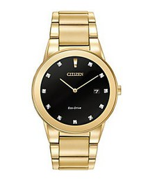 Citizen Mens Axiom Eco-Drive Diamond Yellow Goldto