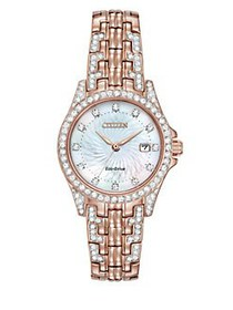 Citizen Silhouette Crystal Rose Goldtone Watch, EW