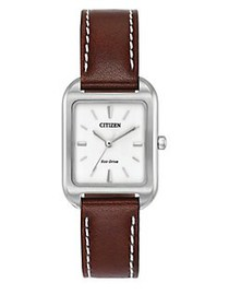 Citizen Chandler Leather Strap Watch BROWN
