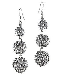 Kenneth Jay Lane Silvertone Glitz Triple Drop Earr
