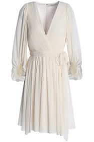 HALSTON HERITAGE Wrap-effect pleated chiffon dress