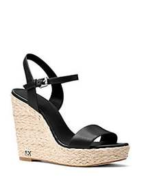MICHAEL Michael Kors Jill Leather Wedge Sandals BL