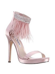 Nina Fran Feather Stiletto Sandals BLUSH