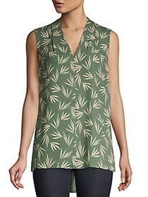 Context High-Low Leaf-Print Top DUSTY OLIVE