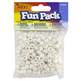 Cousin Pearl White Pony Beads, 250 pc