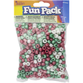 Cousin Pearl Red/White/Green Pony Bead Mix, 700 pc
