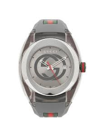 Gucci Unisex Grey Swiss Sync Striped Rubber Strap