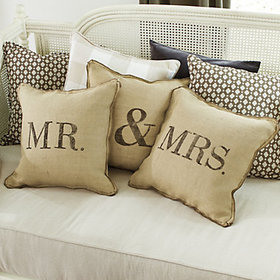 Mr & Mrs Burlap Pillow Cover