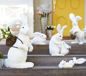 Pottery Barn White Sisal Bunny Decor