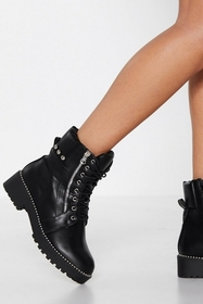 Nasty Gal Let There Be Rock Faux Leather Boot