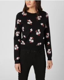 Juicy Couture Tossed Floral Jacquard Pullover Swea