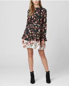 Juicy Couture Mixed Faded Floral Pleated Dress