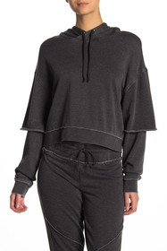 Betsey Johnson Layered Sleeve Pullover Hoodie