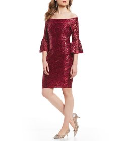Adrianna Papell Sequin Off the Shoulder Bell Sleev