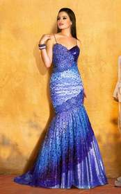 MNM COUTURE - Sleeveless V Neck Lace Mermaid Gown