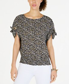 MICHAEL Michael Kors Printed Tie-Sleeve Top