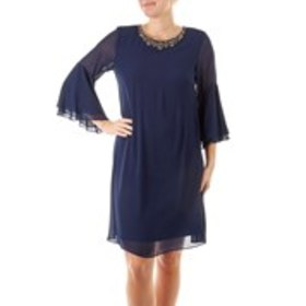 Rhinestone Neck Shift Dress with Bell Sleeves