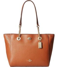 COACH Polished Pebble Leather Turnlock Chain Tote