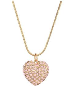 GUESS Puffy Pave Heart Pendant Necklace