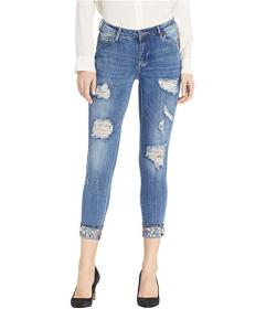 Bebe Minx Roll Up with Rhinestone Frayed Look Jean