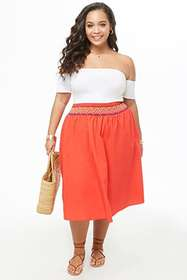Forever21 Plus Size Smocked Flare Skirt