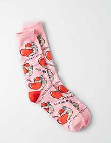 American Eagle AEO Valentine's Day Sloth Crew Sock
