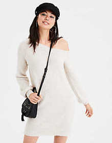 American Eagle AE One Shoulder Boucle Sweater Dres