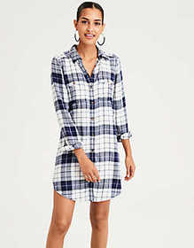 American Eagle AE Plaid Button Front Shirt Dress