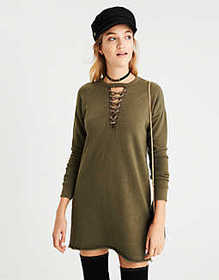 American Eagle AE Cutout Lace-Up Sweatshirt Dress