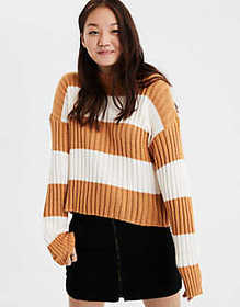 American Eagle AE Rugby Stripe Rib Knit Pullover S