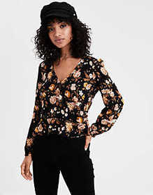 American Eagle AE Floral Wrap Front Top