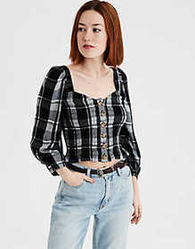 American Eagle AE Plaid Smocked Button Up