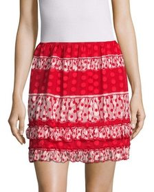 Anna Sui Spring Dot Gathered Flare Skirt~141181560