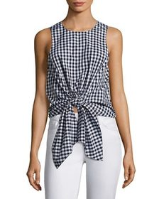 Prose & Poetry Evelyn Tie-Front Gingham Crop Top~1
