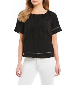 MICHAEL Michael Kors Short Sleeve Ladder Inset Tri