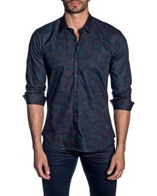 Jared Lang Men's Semi-Fitted Camo Print Woven Shir