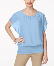 JM Collection Flutter-Sleeve Top, Created for Macy