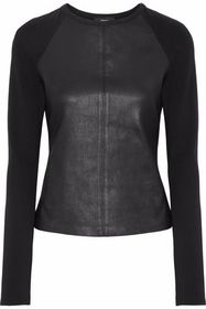 THEORY Leather-paneled stretch-knit top