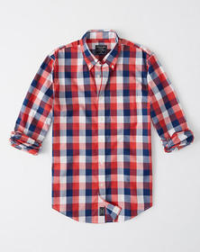 Check Poplin Shirt, RED WHITE AND BLUE CHECK