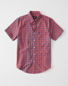 Short-Sleeve Poplin Shirt, RED AND BLUE CHECK
