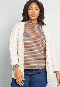 Fireside Cable Knit Cardigan in Eggshell Cream