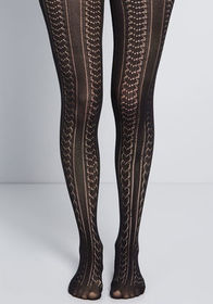 Textured Final Touch Tights Black