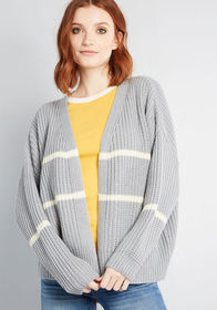 State of Cozy Striped Cardigan in Slate Blue