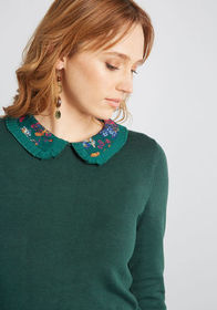 ModCloth Made Meaningful Collared Sweater in Green