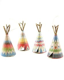 Cody Foster Set of 4 Patterned Tepee Ornaments~305