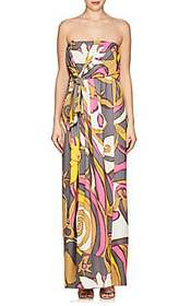 Marc Jacobs Abstract-Print Jersey Strapless Gown