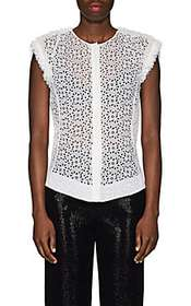 Nina Ricci Floral Eyelet Cotton-Silk Blouse